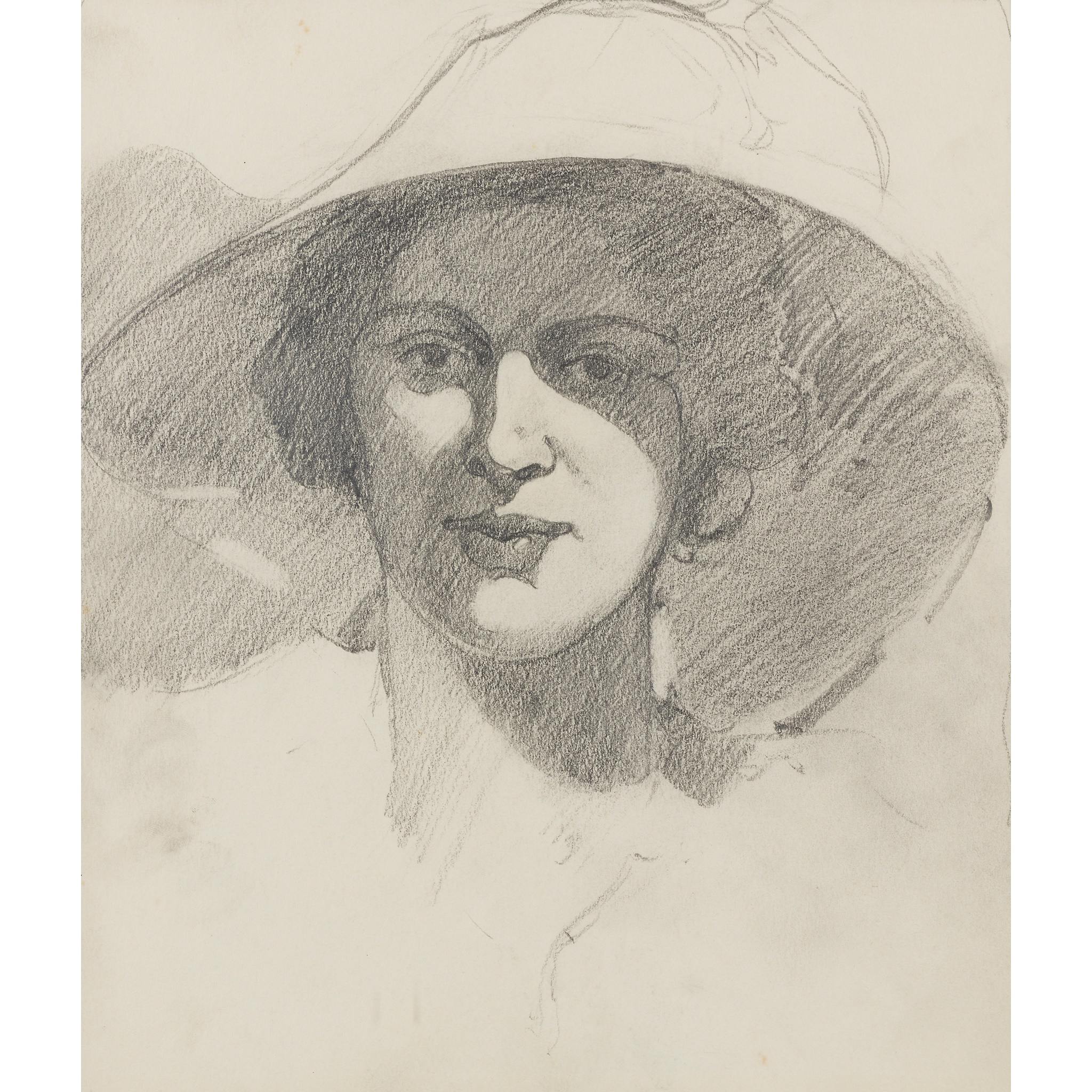 LOT 18 | § JOHN DUNCAN FERGUSSON R.B.A. (SCOTTISH 1874-1961) | WOMAN IN A LARGE HAT Pencil | 27cm x 23cm (10.5in x 9in) | Exhibited: Alexander Meddowes, J.D. Fergusson - Unseen Works, 2013/14, no.5 £2,000 - £3,000 + fees