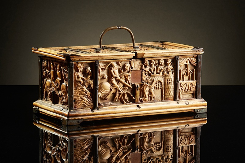 RARE AND IMPORTANT FRENCH GOTHIC IVORY COMPOSITE CASKET CIRCA 1330