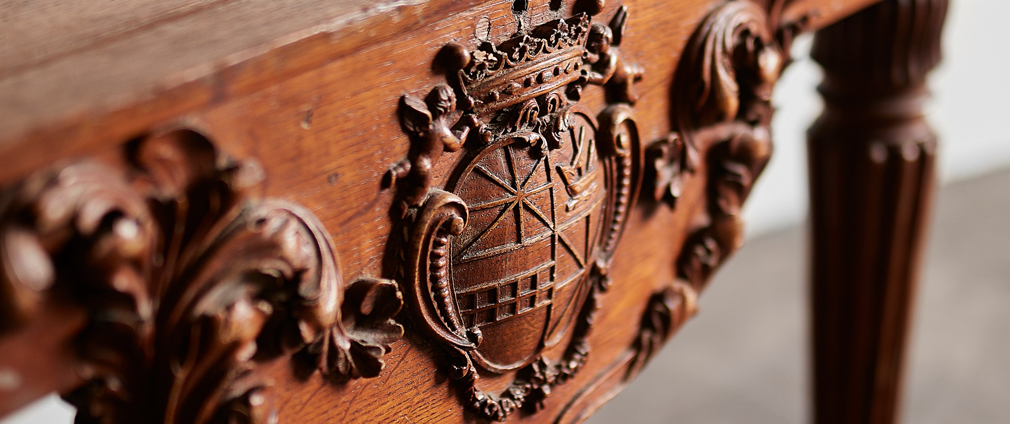 Victorian Carved Oak Armorial Pieces from Taymouth Castle