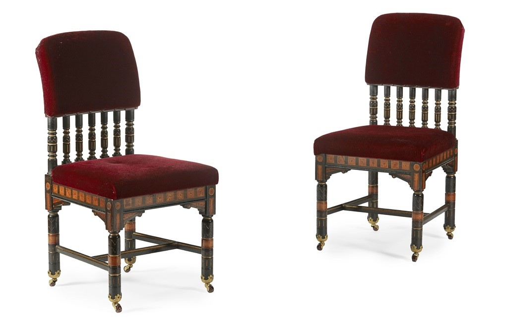 FINE PAIR OF AESTHETIC MOVEMENT INLAID SIDE CHAIRS,