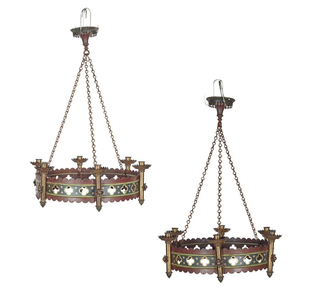 PAIR OF GOTHIC REVIVAL PAINTED IRON AND BRASS MOUNTED CHANDELIERS