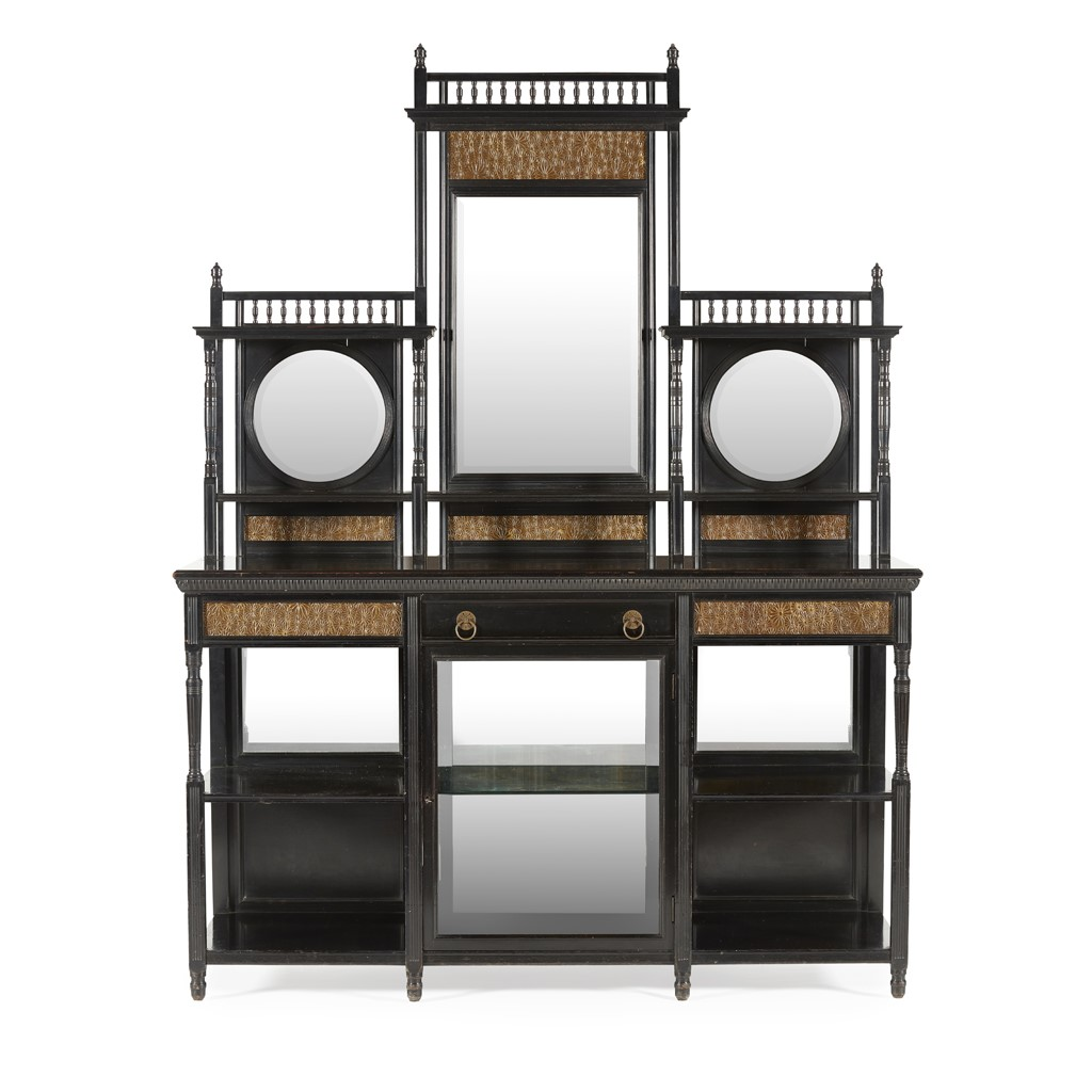 AESTHETIC MOVEMENT EBONISED DRAWING ROOM CABINET, CIRCA 1880