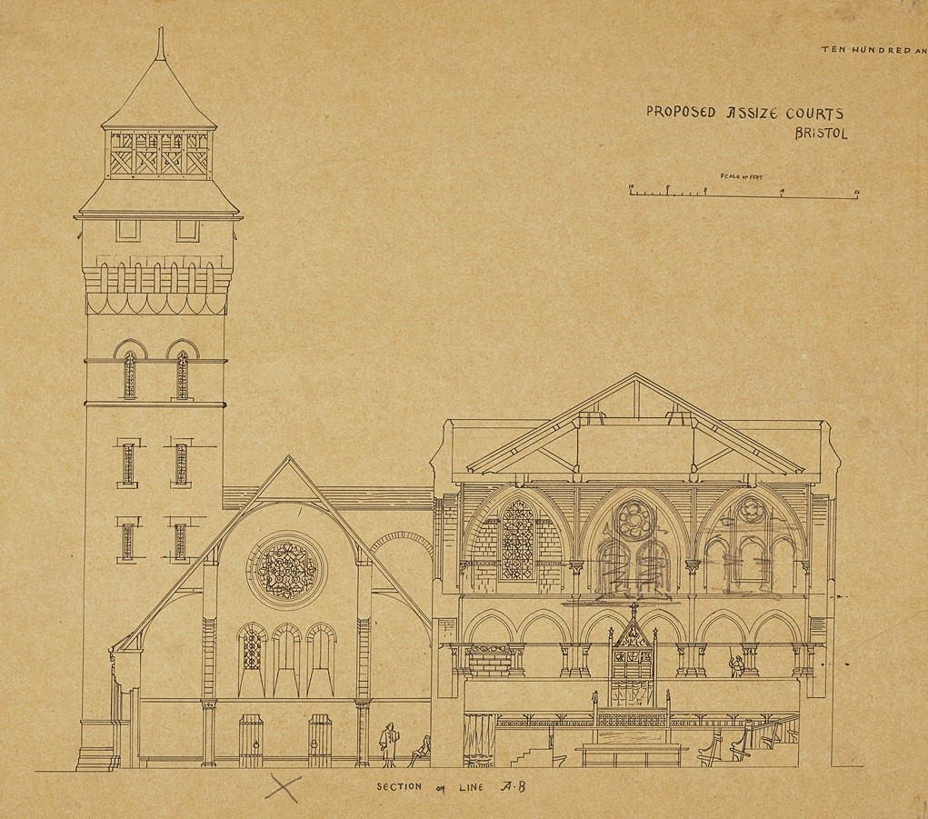 ARCHITECTURAL DRAWINGS: PROPOSED ASSIZE COURTS, BRISTOL