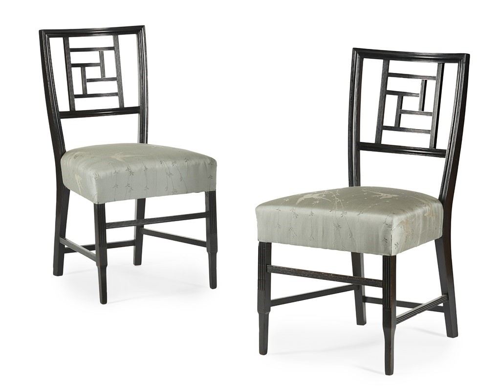 RARE PAIR OF AESTHETIC MOVEMENT EBONISED SIDE CHAIRS