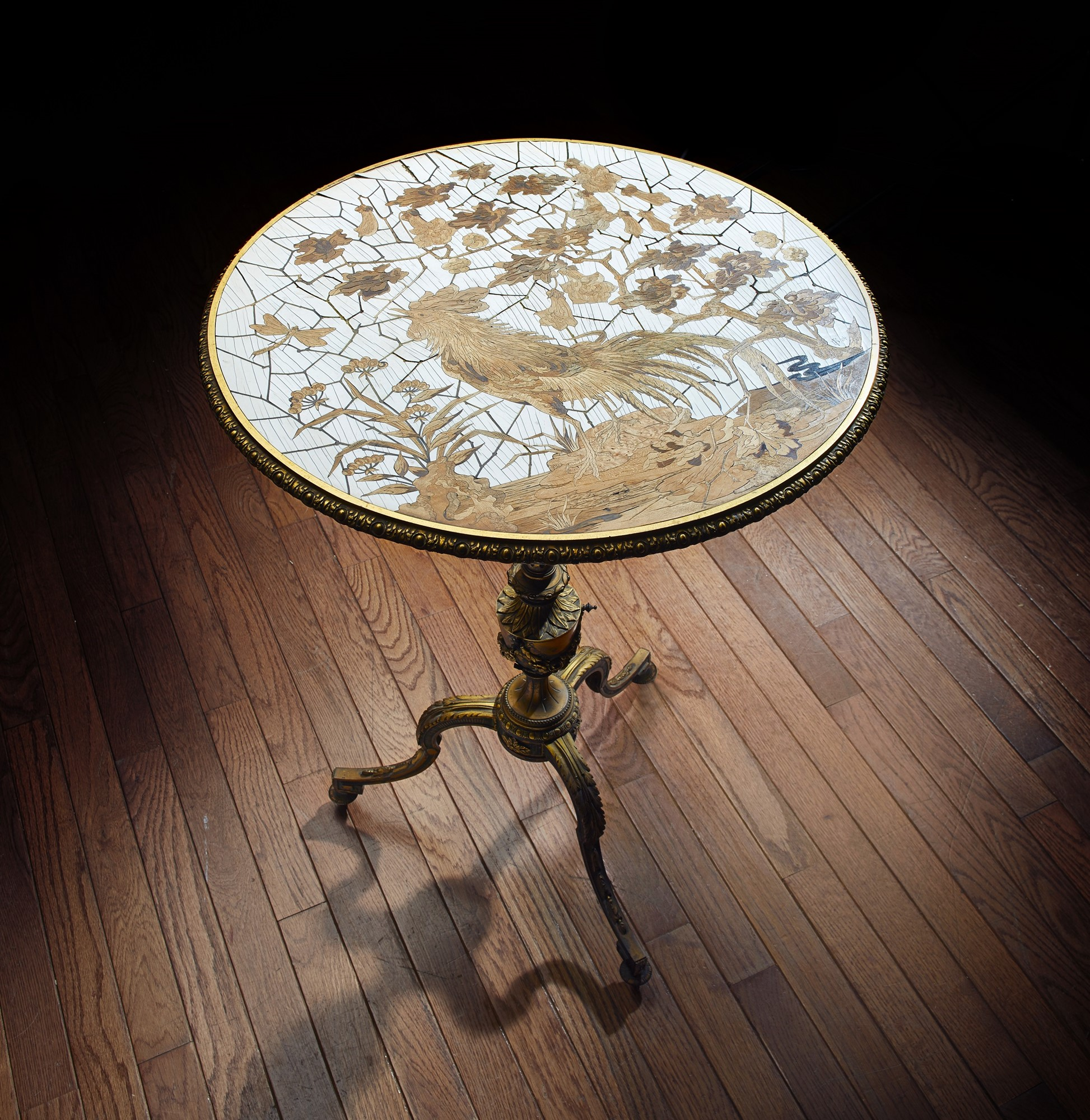 French Marquetry and Giltmetal Table by Maison Giroux