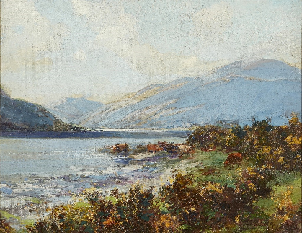HIGHLAND SCENE WITH CATTLE WATERING