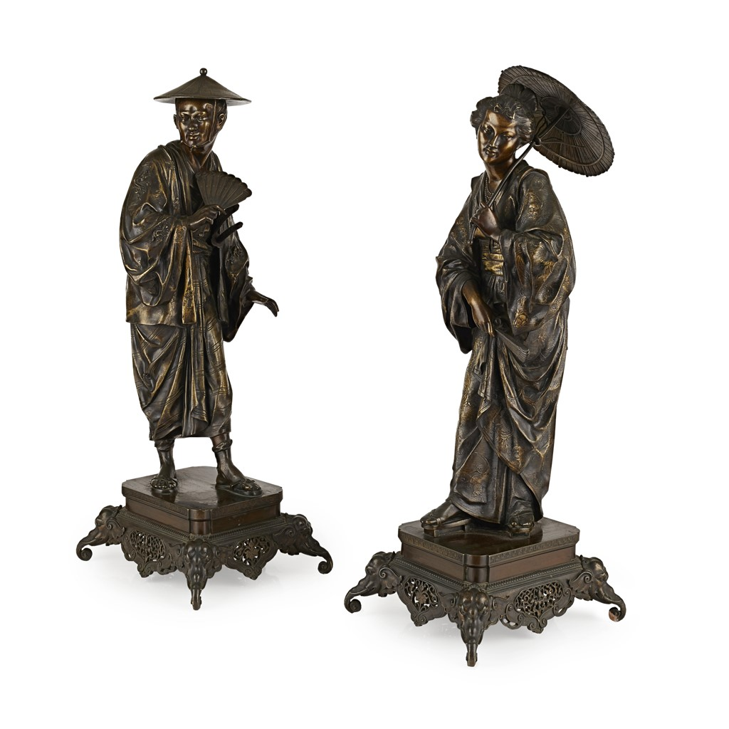 LARGE PAIR OF FRENCH 'JAPONISME' PATINATED AND GILT BRONZE FIGURES