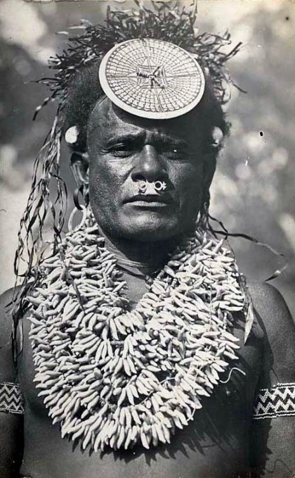 A Solomon Islands chief wearing a kapkap