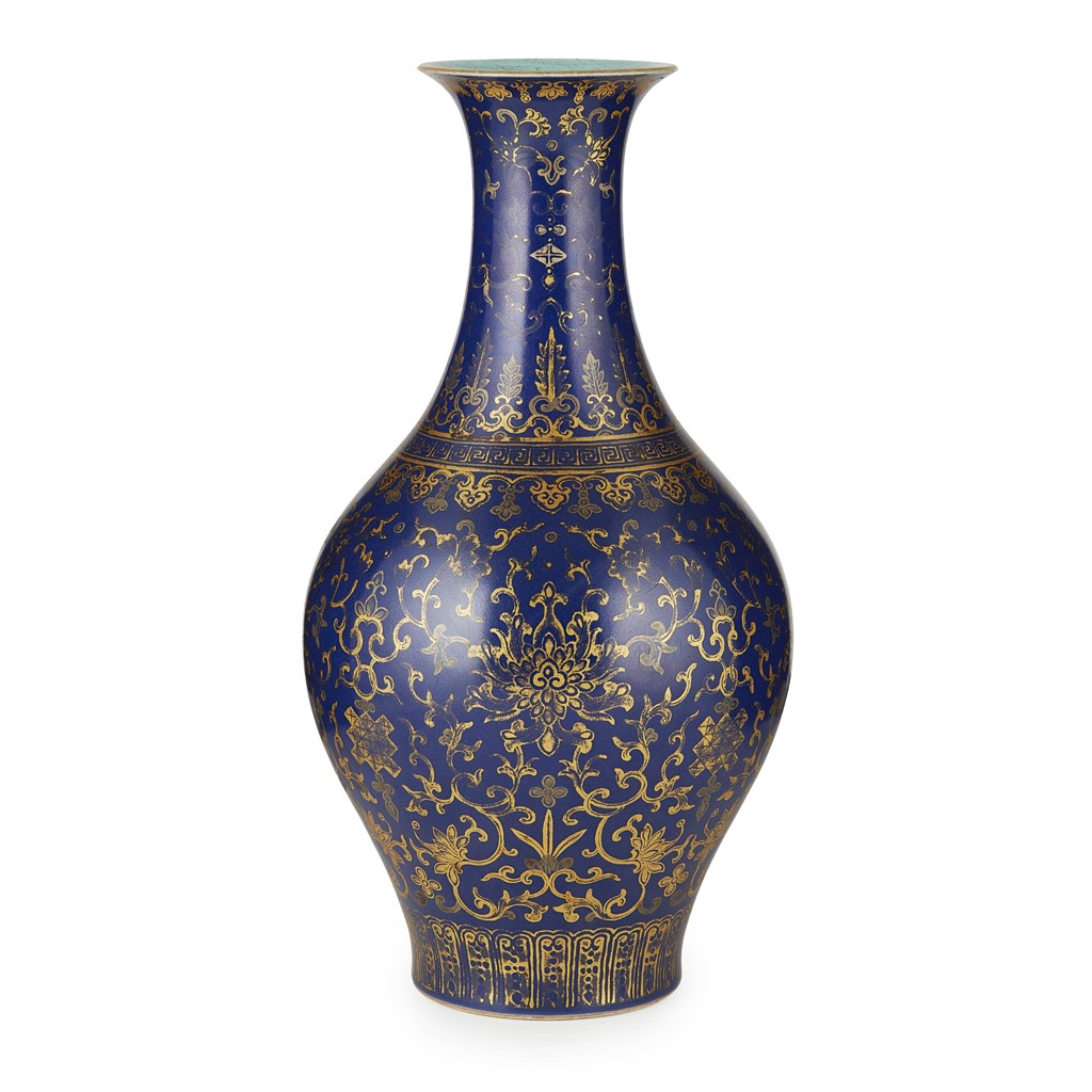 GILT-DECORATED BLUE-GROUND VASE