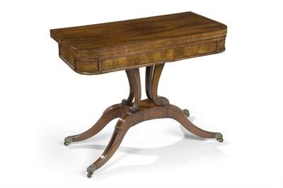 Lot 530 - A Regency mahogany, crossbanded and ebony lined 'D' shaped card table, circa 1815