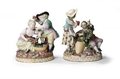 Lot 345 - A pair of Meissen figure groups after Acier,...