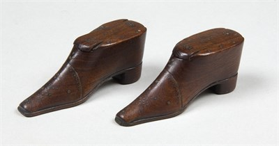 Lot 588 - A pair of mahogany novelty snuff boxes, mid...