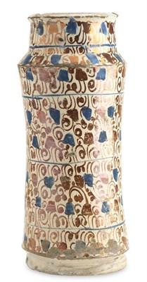 64 - A Hispano Moresque Valencia (Narbonne) maiolica albarello, second half of the 16th century