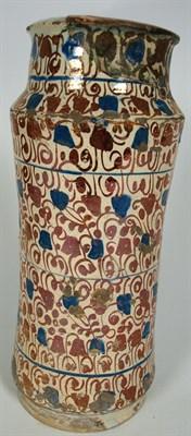 Lot 64-A Hispano Moresque Valencia (Narbonne) maiolica albarello, second half of the 16th century