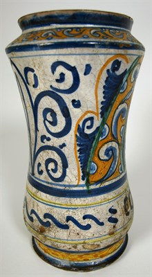 Lot 59 - A 16th century Castelli maiolica albarello, 1545-60<br/>Possibly Pompei workshop