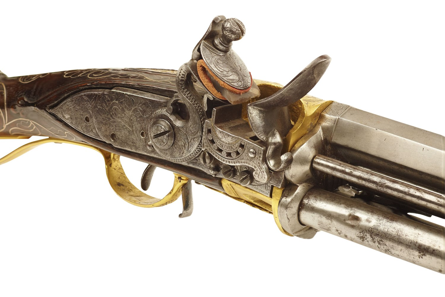 Lot 41 - RARE INDIAN FLINTLOCK TURN ABOUT REPEATING