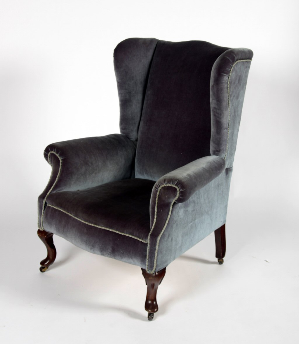 Lot 336 A Queen Anne Style Wingback Armchair