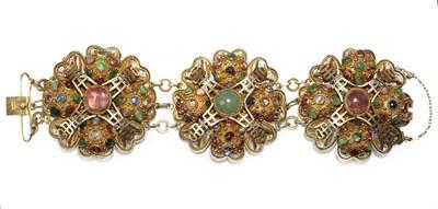 Lot 40 - A Chinese silver gilt multi-gem set bracelet