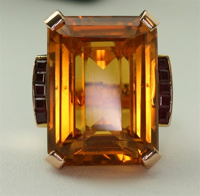Lot 38 - A citrine and ruby set cocktail ring