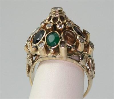 Lot 84 - An Indian Moghul ceremonial multi-gem set ring
