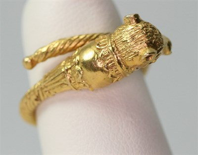 Lot 83 - ILIAS LALALOUNIS - a Greek gold Byzantine bull's head ring