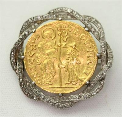 Lot 93 - A diamond set brooch mounted Venetian gold coin