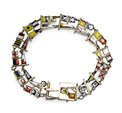 Lot 16 - NAUTICAL INTEREST - an Edwardian 9ct gold enamelled bracelet