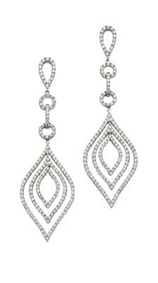 Lot 70 - A pair of diamond pendant earrings