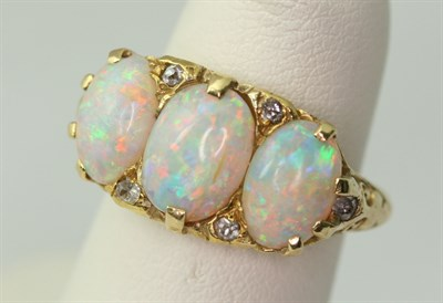 Lot 86 - A Victorian opal and diamond set ring