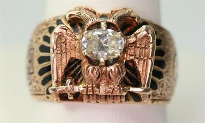 Lot 36 - An Edwardian gold, diamond set and enamelled Scottish Rite ring