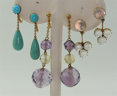 Lot 24 - Four pairs of gem set pendant earrings