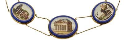 Lot 13 - A 19th century gold mounted Roman micro mosaic demi parure
