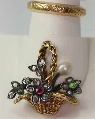 Lot 90 - A multi-gem set giardinetto pendant