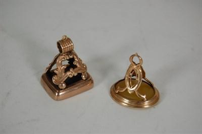 Lot 32 - Two Georgian gold mount fob seals