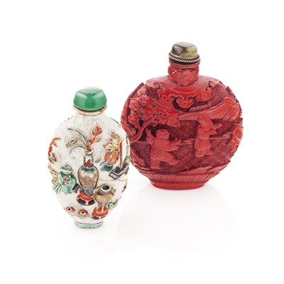 Lot 138 - CINNABAR LACQUER SNUFF BOTTLE AND STOPPER