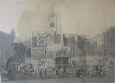 Lot 26 - The Parliament Close & Public Characters at Edinburgh, fifty years since, etching