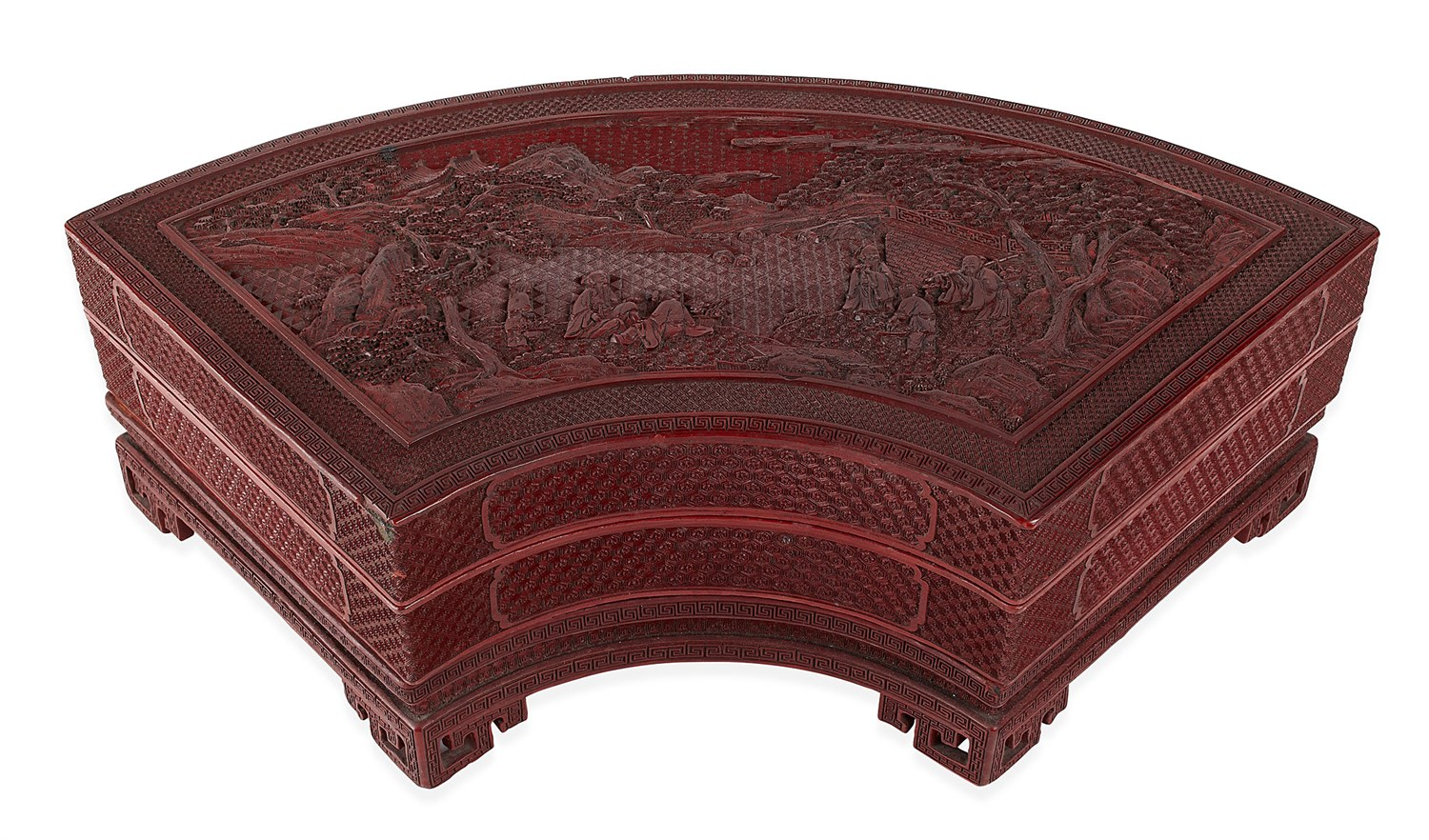 247 - CHINESE CINNABAR LACQUER AND PORCELAIN SUPPER BOX