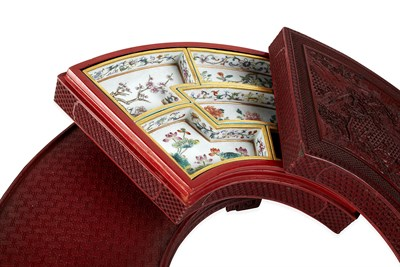 Lot 247 - CHINESE CINNABAR LACQUER AND PORCELAIN SUPPER BOX