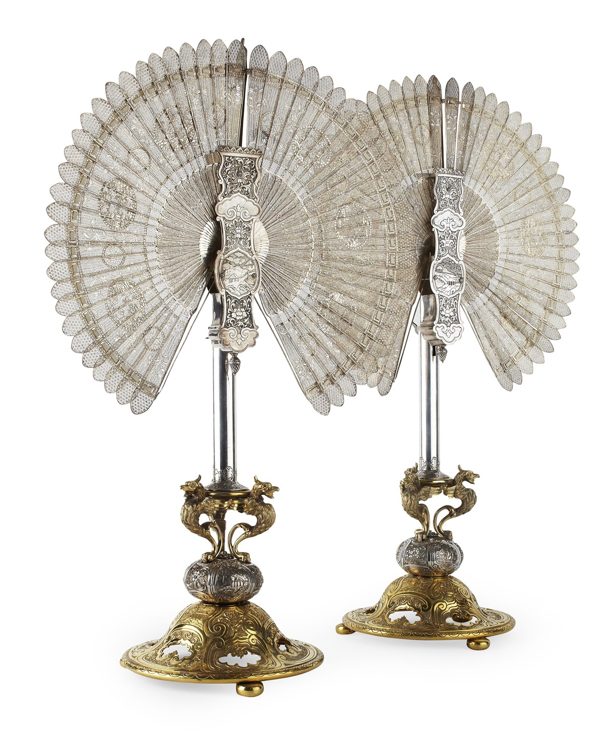 32 - FINE PAIR OF CHINESE SILVER FILIGREE FANS, WITH EUROPEAN SILVERED AND GILT BRONZE STANDS