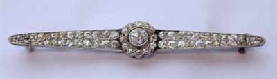 Lot 1 - A diamond set bar brooch