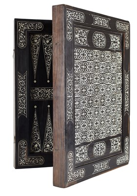 Lot 1110 - RARE SOUTH GERMAN EBONY AND IVORY INLAID GAMES BOARD