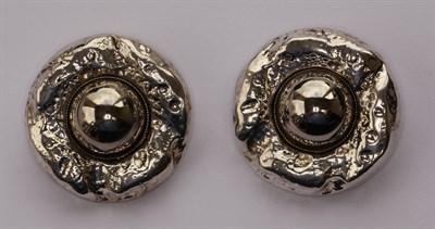 Lot 143 - A pair of large circular ear clips