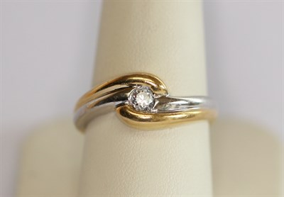 Lot 199 - An 18ct two-coloured gold mounted diamond single-stone ring