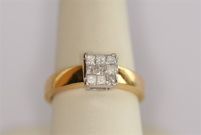 Lot 157 - An 18ct gold mounted diamond cluster ring