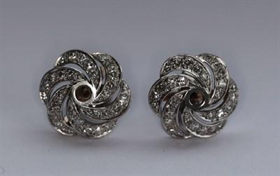 Lot 175 - A pair of diamond set earrings