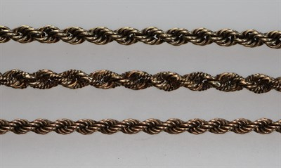 Lot 138 - Three 9ct gold assorted ropetwist link necklaces