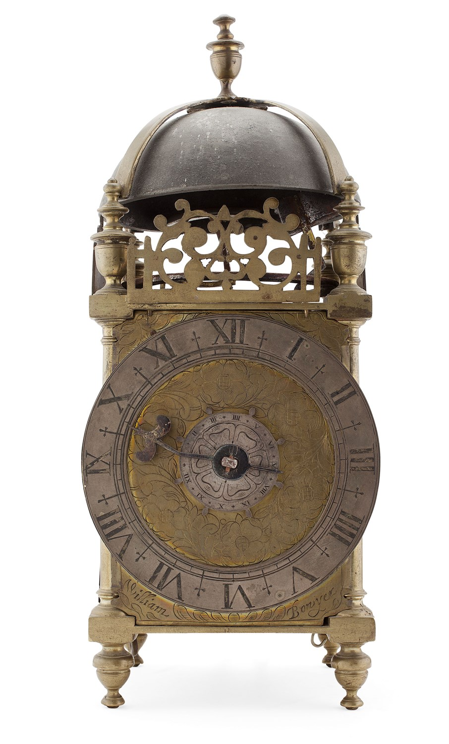 46 - EARLY BRASS LANTERN CLOCK