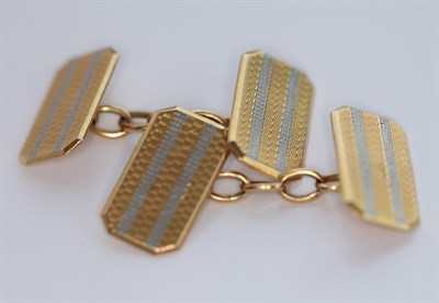Lot 91 - A pair of early 20th century 18ct gold and platinum cufflinks