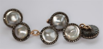 Lot 87 - A gentleman's rose cut diamond and blister pearl set suite