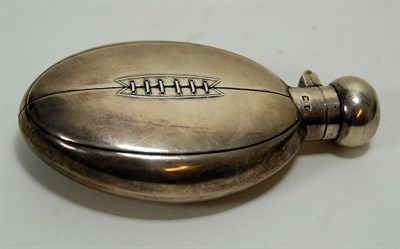 Lot 83 - A novelty rugby ball hip flask